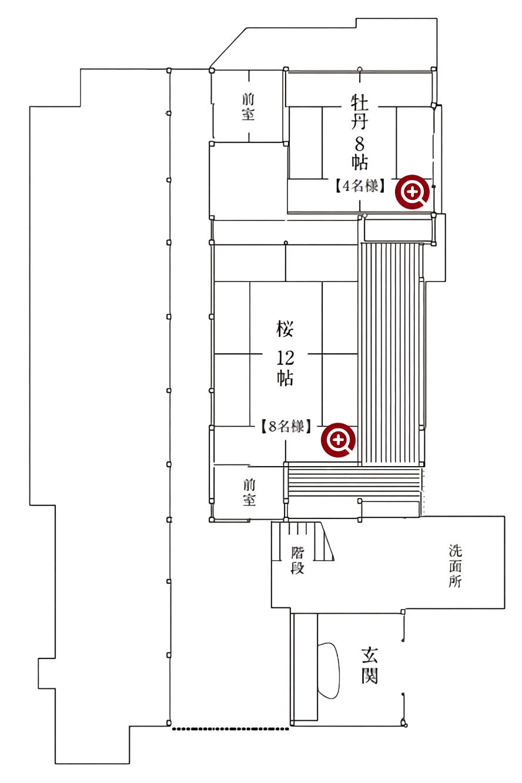 福田家 店内見取り図 一階